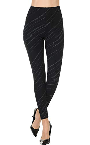 VIV Collection Printed Brushed Ultra Soft Leggings (Gray Stroked)