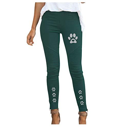 Xmiral Damen Hose Plissee Einfarbig Elastische Hose mit hoher Taille Slim Fit Katzenfußabdrücke Arbeitshose(Grün,XXL)