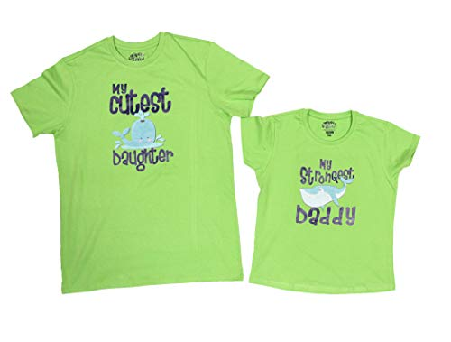 Bon Organik Men's and Baby Girl's Cotton Cutest Daughter Strongest Daddy Best Family Matching Dad and Daughter T-shirt (Green, Dad Large, Daughter-12-24 Months) - Pack of 2