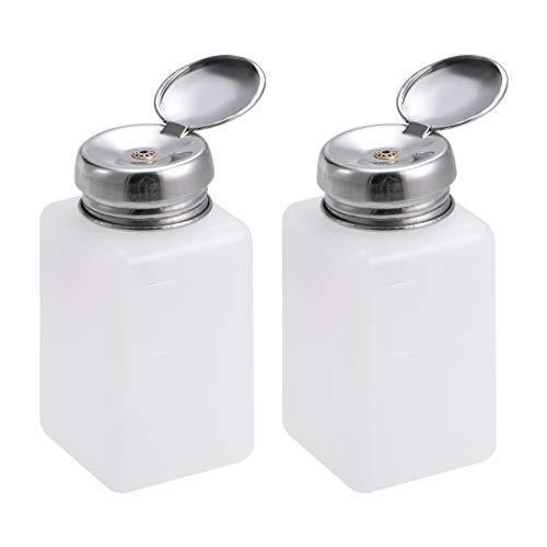 N/A Alcohol Liquid Press Pumping Dispenser 200ML Nail Polish Remover Empty Bottle 2 Pack