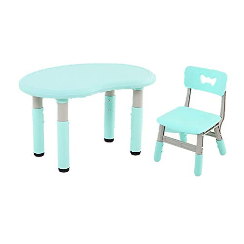 Best Price! Dygzh High Chair Plastic Children's Table and Chair Set Baby Table Height Adjustable Fee...