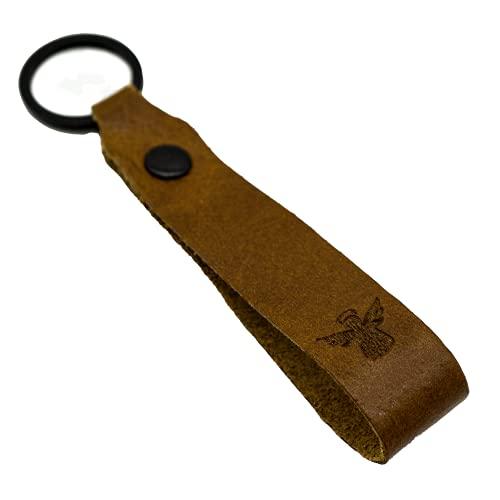 Ángel de la guarda llavero de piel, grabado de colores, marrón, 95 mm,