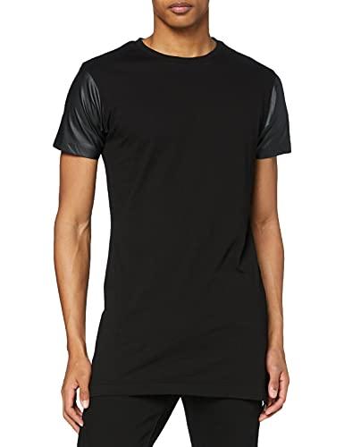 Urban Classics Long Zipped Leather Imitation Sleeve Tee T-Shirt, Nero (Blk/Blk 17), Medium Uomo
