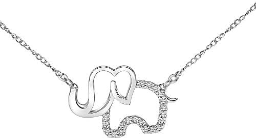 Diamond Elephant Necklace for Women in 925 Sterling Silver 1 10ct I J I3 17 inch by Keepsake product image