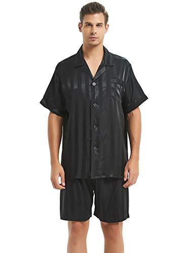 Herren Seide Schlafanzug Kurz Schwarz Large