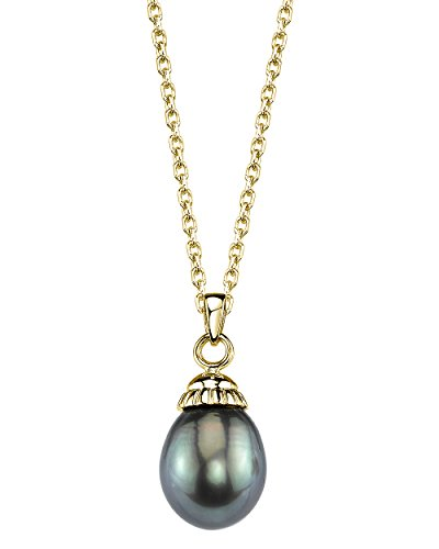 THE PEARL SOURCE 14K Gold 10-11mm Drop-Shape Black Tahitian South Sea Cultured Pearl Devon Pendant Necklace for Women