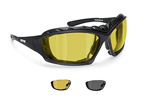 BERTONI Gafas Moto Fotocromaticas Polarizadas Lentes Amarillos con Clip Óptico Para Lentes Correctivas y Patillas Sustituibles con Banda Elastica Mod. P366FTA
