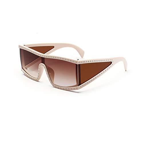 Unbekannt Sonnenbrille Quadrat Großer Rahmen Nieten Coole Persönlichkeit Brille Straße Selbstporträt Lässig Wrap Männer Damen UV-Schutz Langlebig Fahren Radfahren Bewegung,C