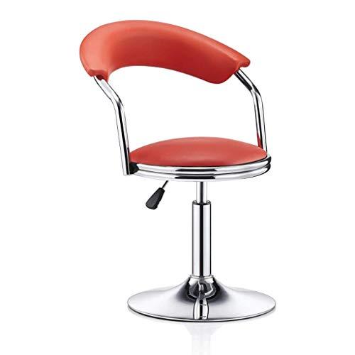 WEHOLY Metallstuhl Rotation kann angehoben und abgesenkt Werden Einfacher Hochhocker Hohe Rückenlehne Rezeption Hocker Cafe Freizeitstuhl (Farbe: gewöhnliches Leder rot, Größe: Niedrig)