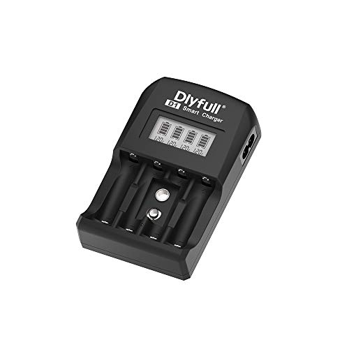 Dlyfull D1 Akku Ladegerät X4 für AA, AAA & 9V - Akkuladegerät 4-Fach zum Laden von wiederaufladbaren Akkus - NiMH Batterieladegerät Akku für Micro AAA, Mignon AA & 9V Block Akkus