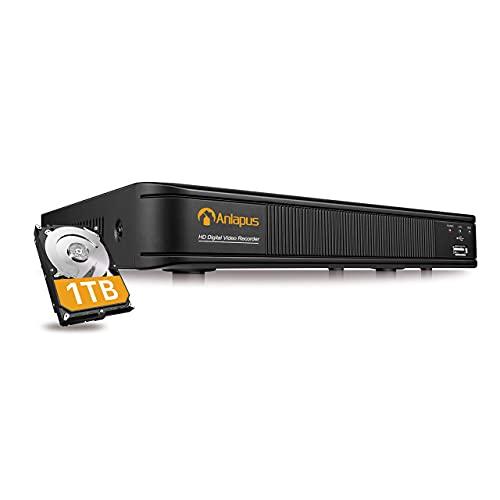 Anlapus 8 Canali 1080P H.265+ Videoregistratori di Sorveglianza per DVR Kit Videosorveglianza, 1TB HDD, Allarme Email, P2P