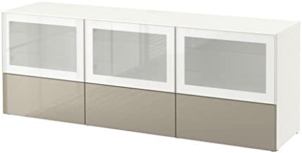 Ikea TV bench with doors and drawers, white, Selsviken high gloss/white frosted glass 10382.26178.1816