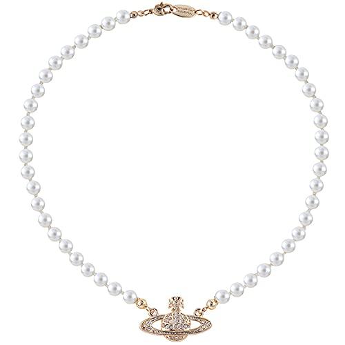 ERMIC Collares De Perlas Saturno, Joyería Y2K, Collares De Perlas, Cadena De Clavícula, Regalo para Mujeres Niñas Madre Hija Novia Cumpleaños Aniversario