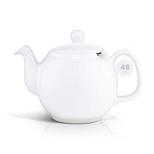 SAKI Large Porcelain Teapot 48 Ounce Tea Pot with Infuser Loose Leaf and Blooming Tea Pot  White