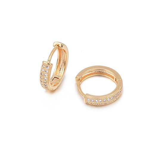 Pendiente de aro para mujer, Pendiente de plata dorado Pendientes de niña Pendiente de acero inoxidable con cristal (#3 Pendiente de arete, Chapado en oro)