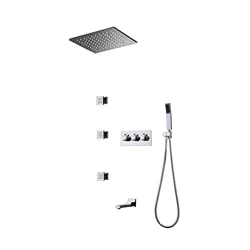 Douche - Doucheset, 300X300mm Multifunctionele LED Thermostatische Douchesysteem, Spray, regenmodus, 304 roestvrij staal, Intelligente Digitale Touch Monitor, [Energie Klasse A]