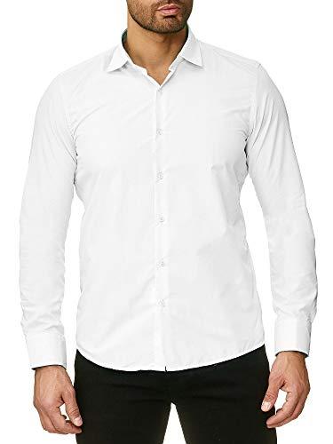 Reslad Herren Hemd Slim Fit Bügelfrei Freizeit Disco Kellner Hochzeit Männer Hemden Anzug Uni Langarm Neu RS-7002 Weiß S