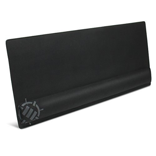 ENHANCE Large Gaming Mouse Pad with Wrist Support - Memory Foam Wrist Rest - XXL Extended Mousepad (31.5 x 13.78 in) with Anti-Fray Stitched Edges , Smooth Fabric Mat , Ergonomic Mousepad (Black)