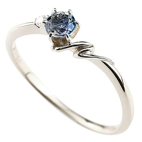 [アトラス]Atrus 指輪 レディース 10金 ホワイトゴールドk10 ブルーサファイア ダイヤモンド イニシャル ネーム N ピンキーリング 華奢 アルファベット 9月誕生石 9号