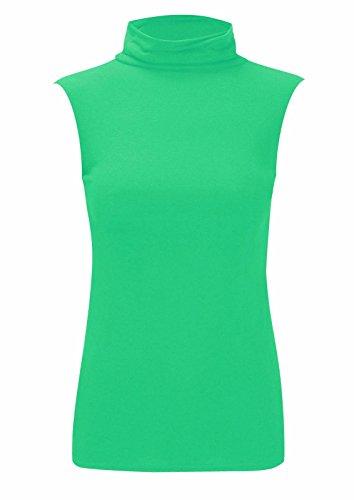Rollkragenshirt für Damen, ärmellos, Stretch, einfarbig Gr. 38-40, jadegrün