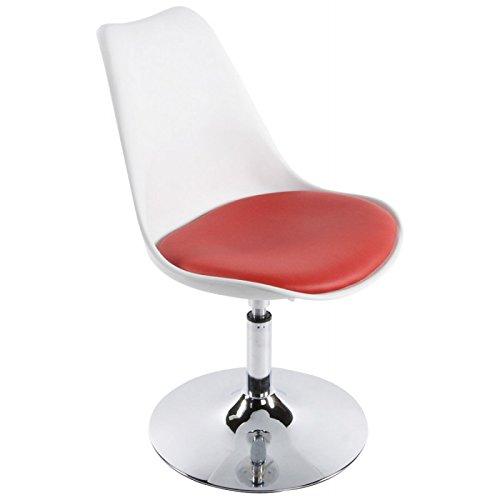 MK Chaise Design AISNE en Simili Cuir et métal chromé (Blanc et Rouge)