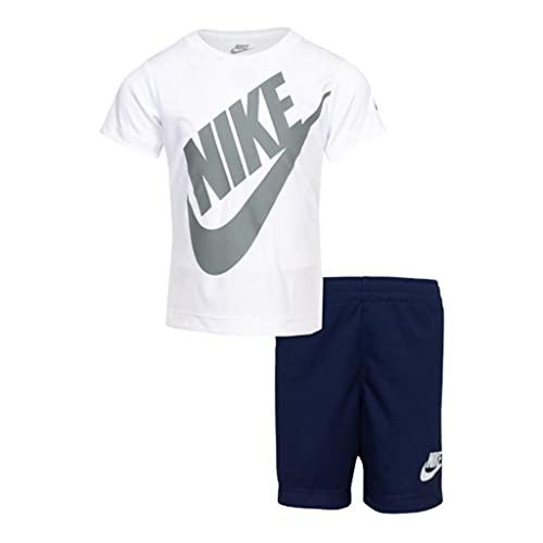 Nike Dri-FIT Logo camiseta y pantalones cortos para niños de dos piezas (niños pequeños) vestido azul 5 niños pequeños