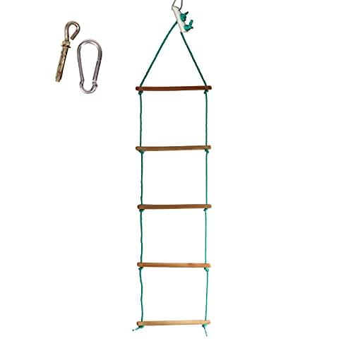 Strickleiter, Spielzeug, belastbar bis 60 kg, Kinder Outdoor Kletterleiter aus Kunststoff mit 5 Sprossen, Klettergerüst, Indoor - Outdoor Strickleiter aus Holz, Kletterwand,ab 3 Jahre