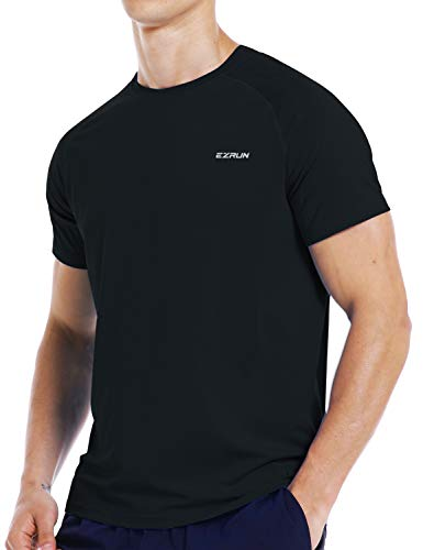 Mens Running Workout Short Sleeve T-Shirt Dry Fit Moisture Wicking Gym Athletic Shirts for Men(Black,M)
