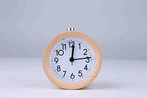 LKU Wekker Klok snooze nachtkastje kind wekker ronde naald backlit desktop klok mute hout