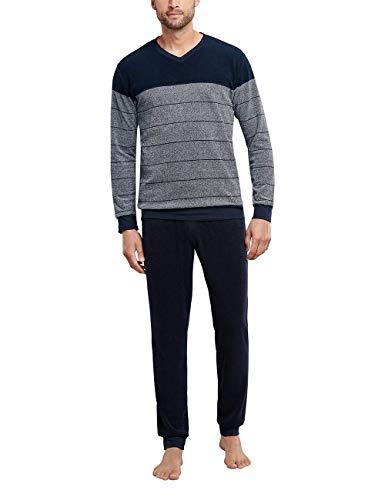 Schiesser Herren Frottee Schlafanzug lang Pyjamaset, dunkelblau, 54