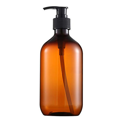 Bottling, Heallege 500ml PET Refillable Empty Bottle Press Pump Shampoo Lotion Soap Makeup Liquid Dispenser Plastic Container Beauty Product-Brown