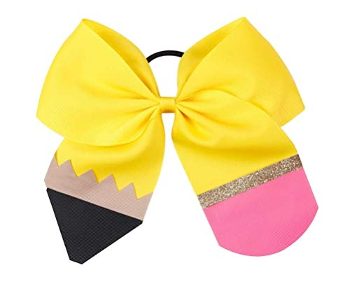 NEW 'YELLOW PENCIL' Cheer Bow Pony Tail 3 Inch Ribbon Girls Cheerleading Dance Practice Football Games Uniform Back to School
