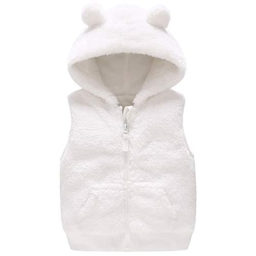 Baby meisje fleece vest met capuchon winterjas mouwloos jack outfits kleding 3-24 maanden 3-6 Monate wit