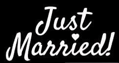 Legacy Innovations Just Married. Pegatina de Vinilo Blanco para Coches, Camiones, Furgonetas, Paredes, portátil, Color Blanco, 5.5 x 3 Pulgadas, LLI626