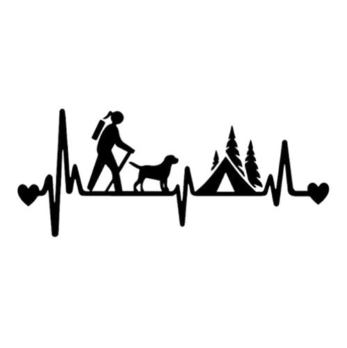 Bhysfenhgttvv 5 Piezas Pegatina para Coche 18,2X7,5 CM Chica Excursionista Que acampa con Perro Tienda de campaña Latido del corazón Vinilo Pegatina para Coche Negro