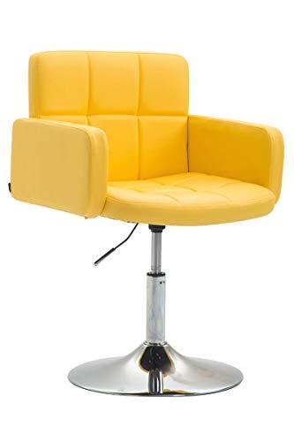 Silla Lounge Los Angeles En Cuero Sintético I Butaca De Salón Giratoria & Regulable en Altura I Taburete Bajo con Reposabrazos I Color:, Color:Amarillo