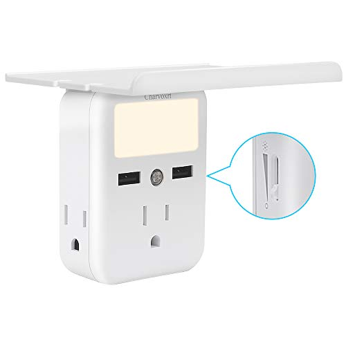 Socket Wall Shelf -Charvoxrt 3 Electrical Outlet Extenders,2 USB Charging Ports 2.4A, with Removable Built-in Shelf and Adjustable Nightlight for Home Dorm & Travel Essentials.