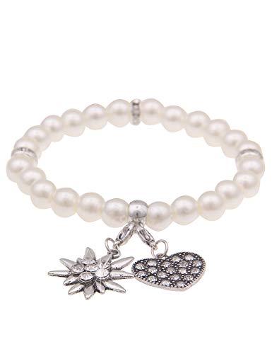 Leslii Damen-Armband Herz-Anhänger Edelweiß Oktoberfest Wiesn Dirndl weißes Perlen-Armband Modeschmuck-Armband in Weiß