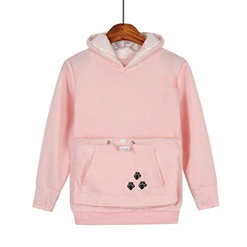 Kids Pet Carrier Hoodie Sweatshirt - Long Sleeve Kangaroo Holder Pullover Girls Boys Tops Kitten Puppy Pouch Hooded Pink