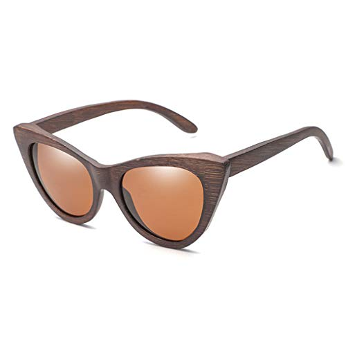 Gafas sol Madera de bamb del Ojo de Gato de Moda de Las Mujeres, vidrios y anteojos polarizados de la Personalidad de Madera Gafas de bamb (Color : Brown)