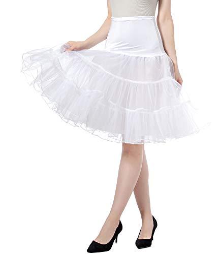 Petticoat Vintage Retro Reifrock Unterrock Petticoat Underskirt Für Hochzeit Braut Rockabilly Kleid - Hohe Taille Faltenrock Rock Adult Tutu Tanzen Rock (White, M)