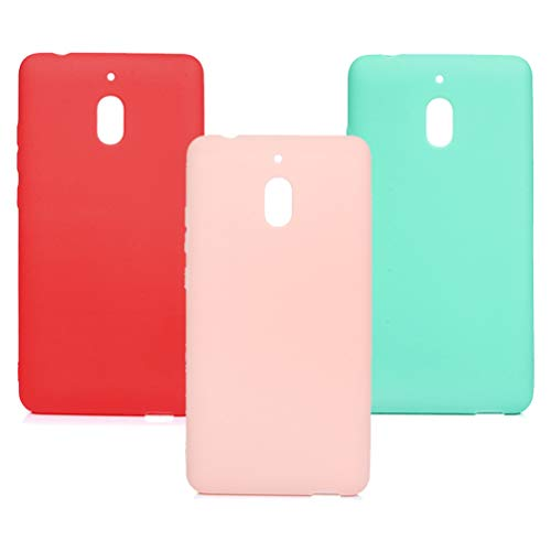 3x Cover Nokia 2.1 2018 Custodia Silicone Morbido TPU Flessibile Gomma Opaco - MUSEROY Case Puro Antituro Ultra Sottile Slim Antiscivolo Cassa Protettiva per Nokia 2.1 2018 - Rosso, Rosa, Verde