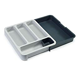 Organise cutlery draws with this practical and smart storage solution The two halves of the tray can be finely adjusted to fit a variety of drawer sizes from 29 cm to 48 cm and lock securely together once in place Expandable area for larger items or ...