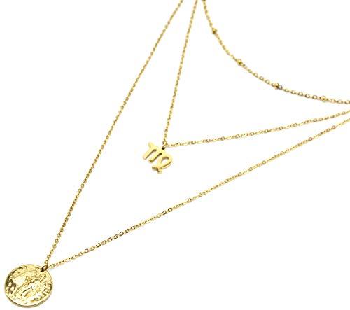 Oh My Shop CC2513F - Collier Triple Chaîne Signe Astro et Médaille Martelée Vierge Acier Doré