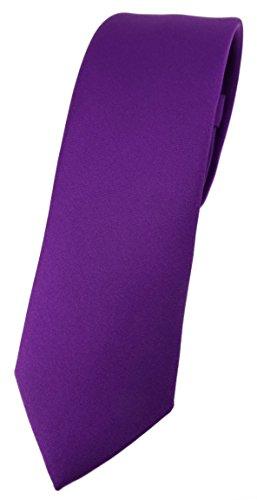 TigerTie Corbata de diseño estrecho en un solo color, ancho de corbata de 5,5 cm. morado Talla única