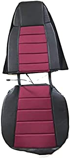 TC Seat Cover Black/Burgundy Extra Foam for Cushion fits Peterbilt Kenworth Freightliner Western Star Volvo International (Set is for 1 Seat)