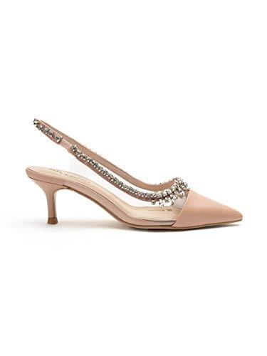 Heel & Buckle London Women Blush Pink Studded Perspex Sandals 5 UK (38 EU)