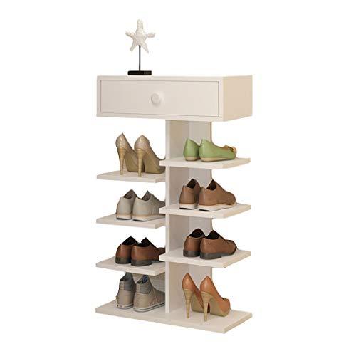Shoe rack CWT Multi-capa hogar multifunción 3 capas, 5 capas, 8 capas, simple mini puerta zapatero estante de almacenamiento blanco (color: 5 capas)