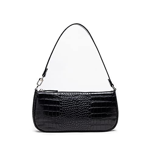 Jo&Bombara Handtaschen Damen Retro Classic Umhängetaschen für Damen, Krokodil Muster Tasche Schultertasche klein Schwarz
