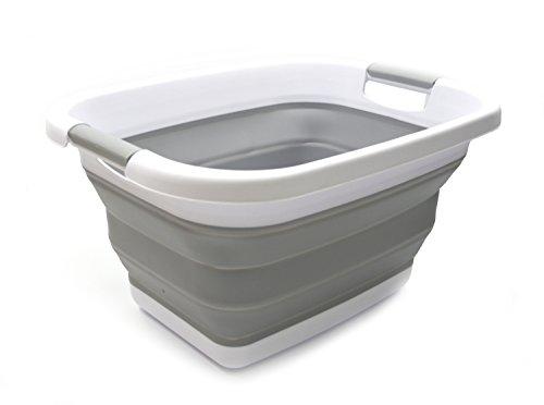 SAMMART Zusammenklappbarer Wäschekorb / -wanne - Faltbarer Aufbewahrungsbehälter/Organizer - tragbarer Waschbehälter - platzsparender Korb - Kofferraum-Aufbewahrungsbox (Grau)
